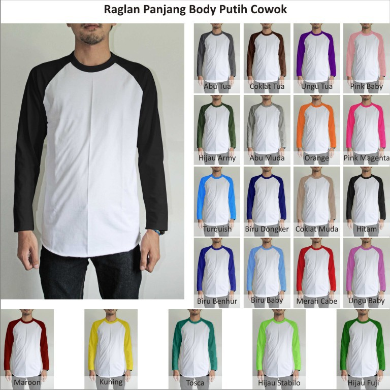 Tshirt Kaos Polos Raglan Pria Cowok Lengan Panjang Body Putih Indotees Factory Jual Grosiran Kaos Polos Raglan Hoodie Sweater Pria Wanita Murah Bisa Satuan