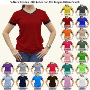 XL-XXL Tshirt Kaos Polos Vneck Wanita Cewek Rib Tangan Leher Hitam Jumbo