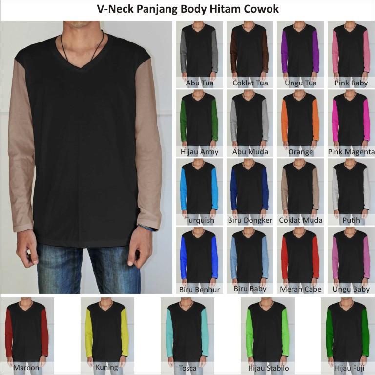 Tshirt Kaos Polos Vneck Pria Cowok Lengan Panjang Body Hitam Murah Indotees Factory Jual Grosiran Kaos Polos Raglan Hoodie Sweater Pria Wanita Murah Bisa Satuan